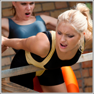 Fitness women outdoor brawl - Laura vs Blanca
