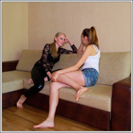 Crotch kicking catfight - Marta vs Nastja - HD