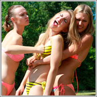 Bikini Fight - Darcy against Vicky and Renee