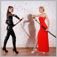 Black vs Red Sword Fight - Jillian vs Elena
