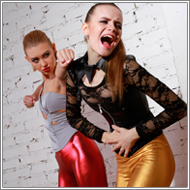 Models catfight in shiny pants – Jillian vs Elena