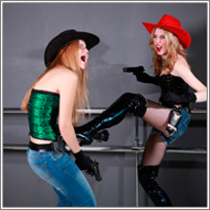 Cowgirl gunfight – Vera vs Jillian