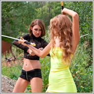 Outdoor Sword fight – Jillian vs Elena