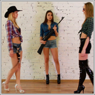 Cowgirl gunfight – Laura vs Stella and Sabrina – HD