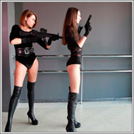 Prolonged toygun shooting – Fiona and Elena - HD