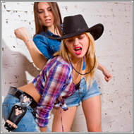 2-on-1 Cowgirls catfight – Sabrina vs Stella and Laura
