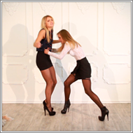 Catfight in skirts and blouses – Laura vs Irene – HD
