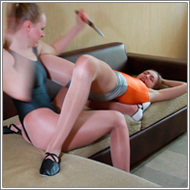 Toy knife fight in leotards – Nastja vs Emily