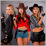 Cowgirls gunfight – Sabrina, Jillian and Laura