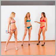 Bikini fencing fights – Laura, Sabrina and Jillian