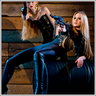 Guards in black– Lisa and Maya