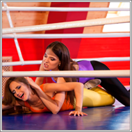 Wrestling brawl in the ring – Danni vs Sabrina