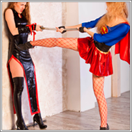 Ninja attacks S-girl - Jillian vs Claire