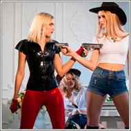 2-on-1 Saloon gunfight – Blanca vs Elena and Maya