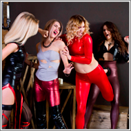 2-on-2 cosplay catfight – Elena, Amelia, Sabrina and Laura