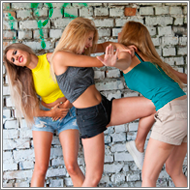 2-on-1 outdoor catfight – Darcy vs Amelie and Jillian