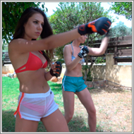 Belly punching outdoor – Renee vs Sabrina – FULL HD