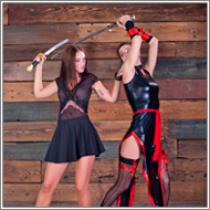 Cosplay sword fight – Lexxi vs Tess
