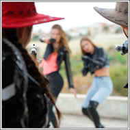 Cowgirls vs Gangsters - Maya, Sabrina vs Tess, Jillian