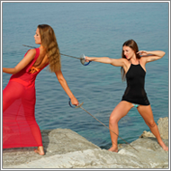 Fencing Duel in the rocks – Jillian vs Tess