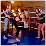 2on1 team fight in the ring – Maya vs Vera and Tess