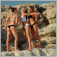 2on1 catfight in the rocks – Sabrina vs Maya and Renee