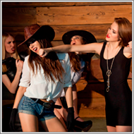 Cowgirls vs Gangster team – Renee, Sabrina vs Claire, Vera