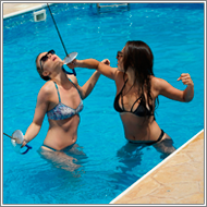 Fencing Duel in swimming pool – Renee vs Sabrina