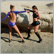 Fencing duel  – Tess and Renee vs Jillian
