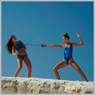 Fencing duel in the rocks  – Tess vs Jillian