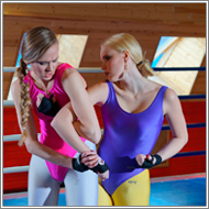 Wrestling match in ring – Maya vs Britt