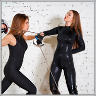 Catsuits fencing Duel - Sabrina vs Tess