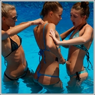 Catfight in swimming pool – Jillian vs Tess and Maya