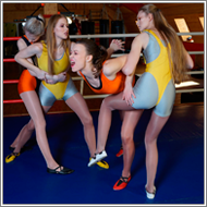 Double team wrestling match – Renee, Hanna, Vera, Lisa
