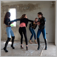2-on-2 fight in ruins – Maya, Sabrina, Tess, Jillian – FULL HD
