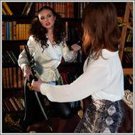 Sword Duel in the library - Tess vs Alisha